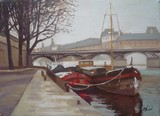 Paris, p�niches au Pont des Arts