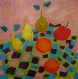 Composition aux fruits sur la nappe � carreaux
