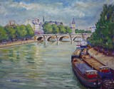 Vue de Paris, p�niches pr�s du Pont-Neuf