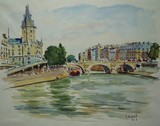 Vue de Paris, le pont Saint-Michel