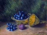 Nature morte au raisin et � la prune