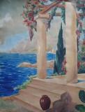 ECOLE FRANCAISE - La treille au bord de la mer
