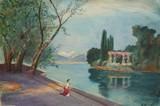 ECOLE FRANCAISE - Promenade au bord du lac