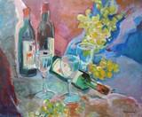Raisins, bouteilles et verres