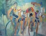Cyclistes en haut du Galibier