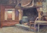 ECOLE FRANCAISE - Intérieur à la cheminée