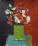 Bouqet de fleurs au vase vert