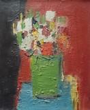 Bouquet de fleurs au vase vert