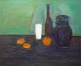 Nature morte : pichet, bouteille, verre, fruits