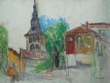 Vue de village à l'église
