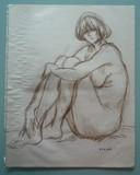 Etude de nu assis à l'atelier