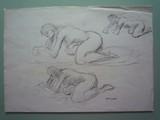 Etude de nu au sol à l'atelier