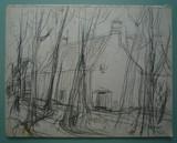La maison derrière les arbres | au verso : Maison