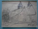Etude de paysage à l'église