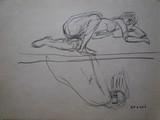 Etude de nu allongé à l'atelier