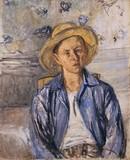 Garçon à la chemise bleue et au chapeau