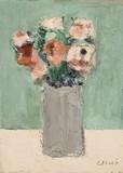 Bouquet de fleurs au vase gris