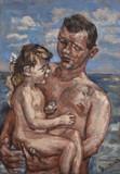 Père et enfant à la plage