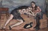 Le chat Petittou avec Céline et Virginie