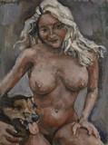 Femme nue au chien